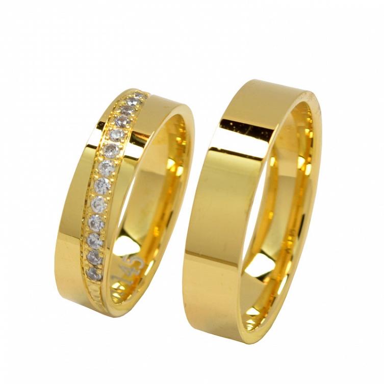 2fa6c86fba4e8a Złote obrączki ślubne z brylantami. Profil płaski