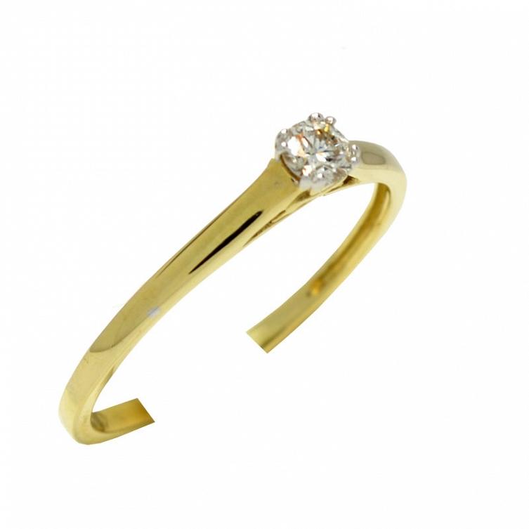 Klasyczny Złoty Pierścionek Z Brylantem 016 Ct