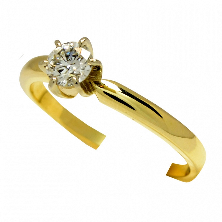 Pierścionek Złoty Z Brylantem 033 Ct